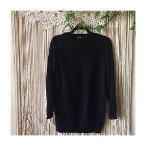 Boohoo Side Split Black Knit Sweater